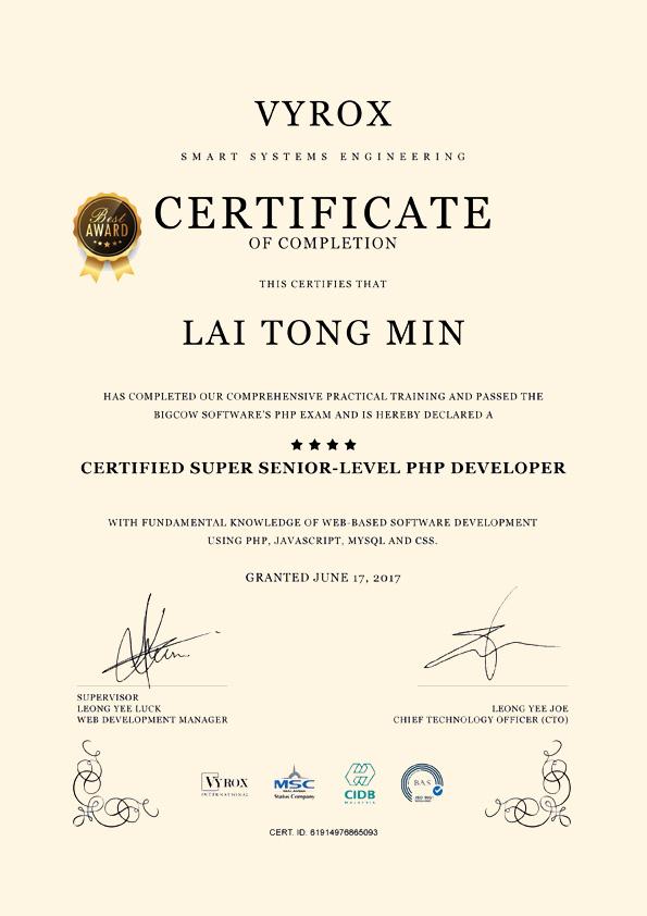 VYROX Certificate