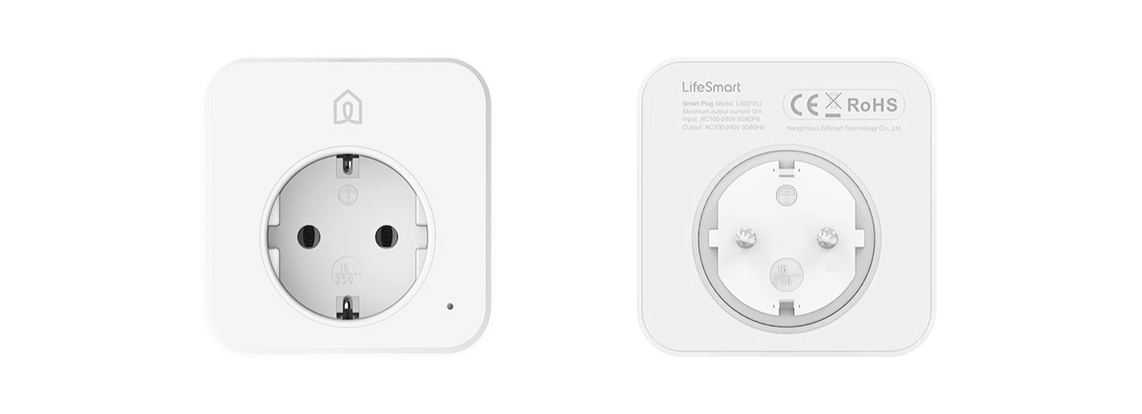 Smart home plug front & back view