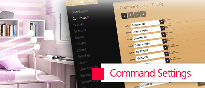 VHOME Smart Home command settings
