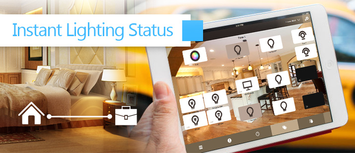 VHOME Smart Home instant lighting status monitoring