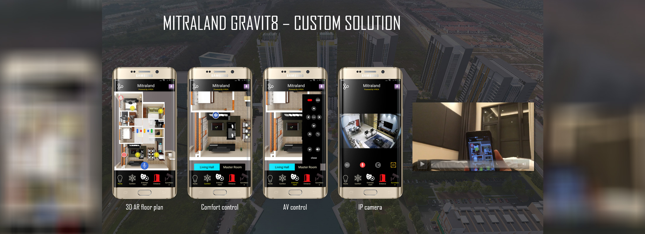Mitraland Gravit8 - custom smarthome solution, 3D AR floor plan, comfort control, av control, ip camera