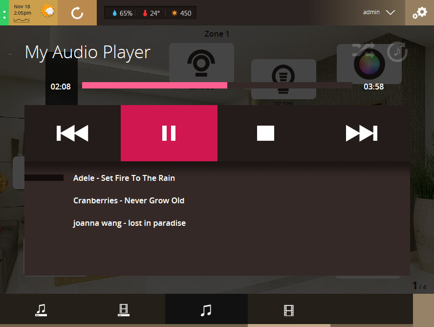 VHOME Smart Home music player UI screenshot